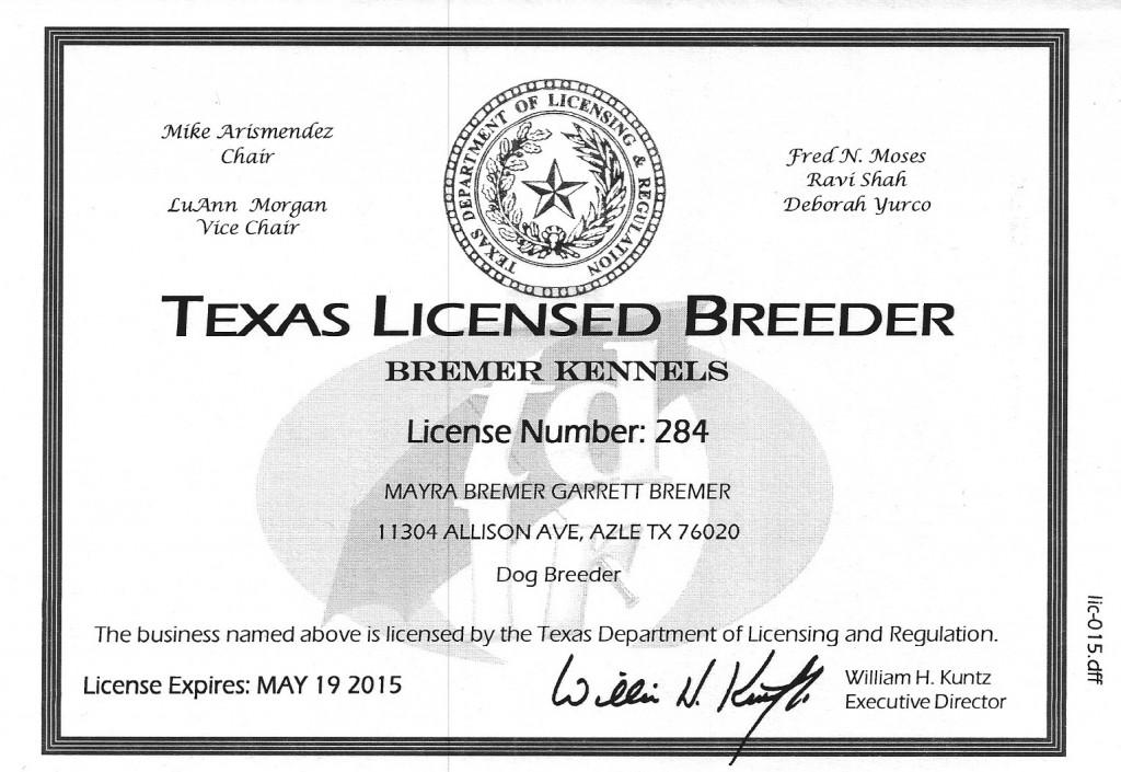 Texas Breeder License